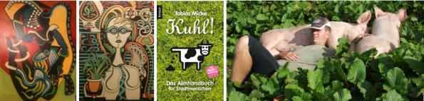 v.l.n.r.: Kunst von Peti Heidegger, Cover Kuhl! Das Almhandbuch für Städter, Tobias Micke