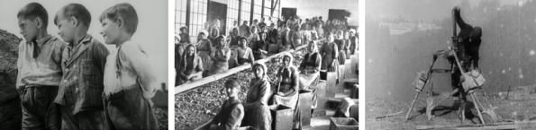 v.l.n.r.: Sturmjahre (1947) / Österreichisches Filmmuseum, Klaubanlage / Stadtmuseum Eisenerz, A Day in an Austrian Iron Mine (1910) Filmarchiv Austria