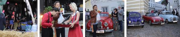 v.l.n.r.: Free Fall, Girl mit Bauchladen, Michi Ostrowski und Oldtimer