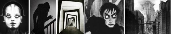 v.l.n.r.: 1 Metropolis, 2 Nosferatu, 3 u. 4 Das Cabinet des Dr. Caligari, 5 Metropolis