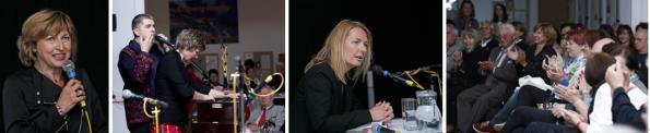 v.l.n.r.: Gerhild Illmaier, Vocal Chordestra, Claudia Rossbacher, Publikum