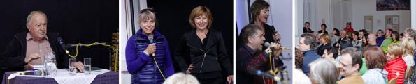 v.l.n.r.: Reinhard P. Gruber, Nicole Zaiser und Gerhild Illmaier, Vocal Chordestra, Publikum