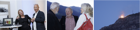 v.l.n.r.: Claudia und Hannes Rossbacher, Reinhard P. Gruber mit Publikum, Sonnwendfeuer am Erzberg