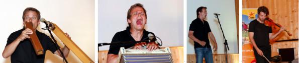 Christian Zehnder an den Orgelpfeifen und einer Harmonika, Tobias Preisig