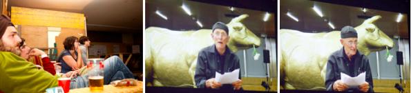 """v.l.n.r.: gespannte Minen bei Bodo Hells Videovortrag seiner Draht-Litanei """"Auf Dráht – aufdráht"""""""