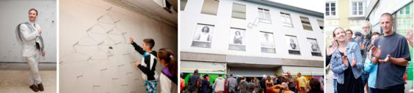 v.l.n.r.: Thomas Enzenhofer vor seiner sozialen Skulptur aus selbstgefertigten Drahtkleiderbügeln, Forum Gebäude, Barbara Jernej und Gerhard Raab