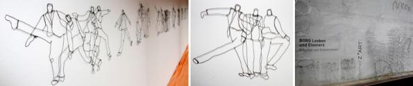 """v.l.n.r.: """"Manager"""", Skulptur von Hilda Keemink, Drahtskulpturen von SchülerInnen des BORG Eisenerz und Leoben (Workshop Thomas Enzenhofer)"""