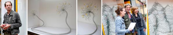 "v.l.n.r.: Edgar Sorgo, Skulptur ""openendings"", Barbara Jernej, Gerhard Leixl und Gerhild Illmaier vor der Stacheldraht-Skulptur von Gerhard Leixl"