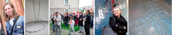 """v.l.n.r.: Markus Wilfling, Skulptur """"Madensexualität"""", Publikum, Eva Burtscher, Kunstzaun-Element von """"Lace Fence"""""""