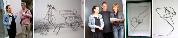 """v.l.n.r.: Barbara Jernej und Markus Moser, """"Vespa"""", Barbara Jernej, Gerhard Raab und Gil Illmaier, Skulpturen von Gerhard Raab (o.T. – Zeichnungen)"""