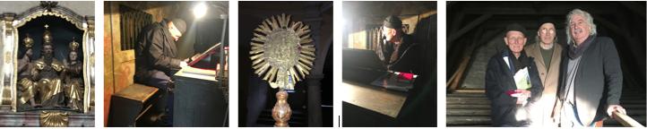 Bodo Hell bei der Vorbesichtigung der Dreifaltigkeitskirche (mit Herbert Krump und Wolfgang Slamnig)